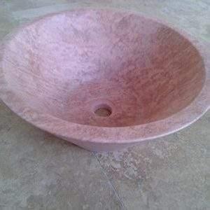 Lavoar oval pe blat Travertin BW 004 rosu