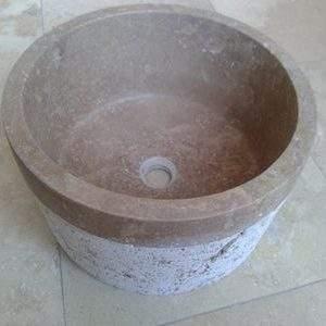Chiuveta rotunda Travertin Noce BW 027